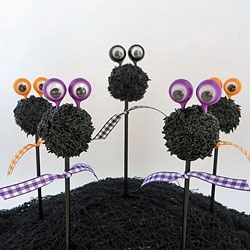 Cake Pops covered in furry frosting with big googly eyes make cute Halloween treats.