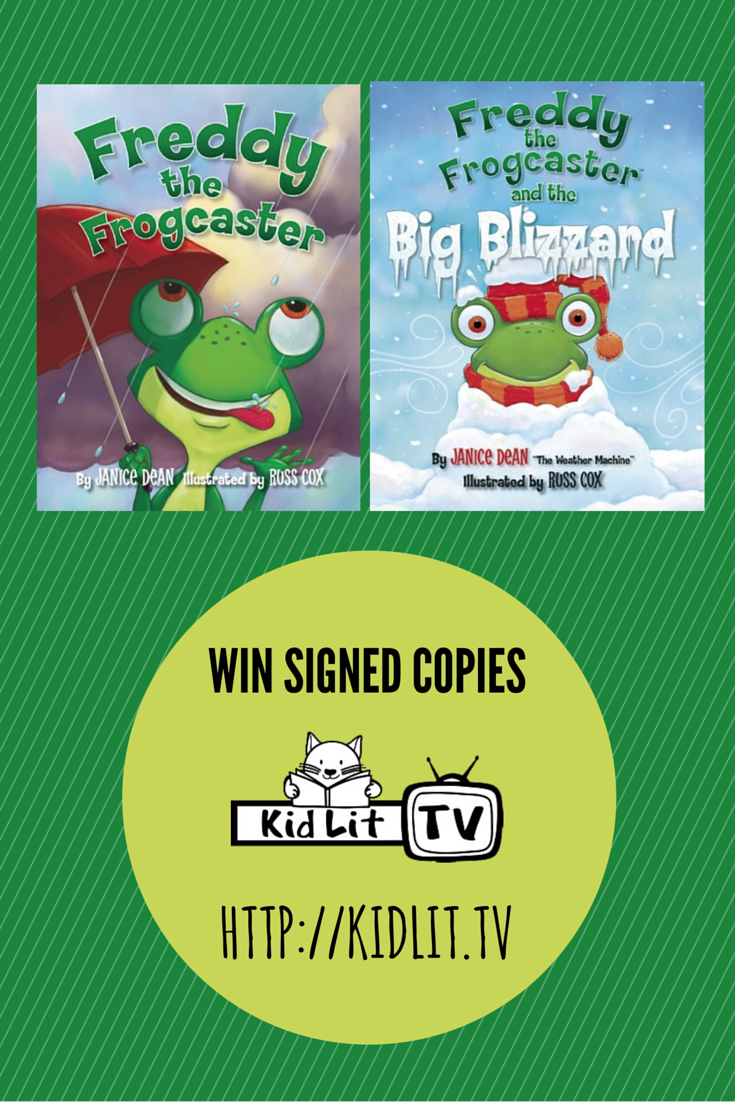 "Freddy the Frogcaster Book Giveaway. ""Weather is what connects us all; every single person on Earth."" — Janice Dean.  A must watch KidLit TV Author Interview"
