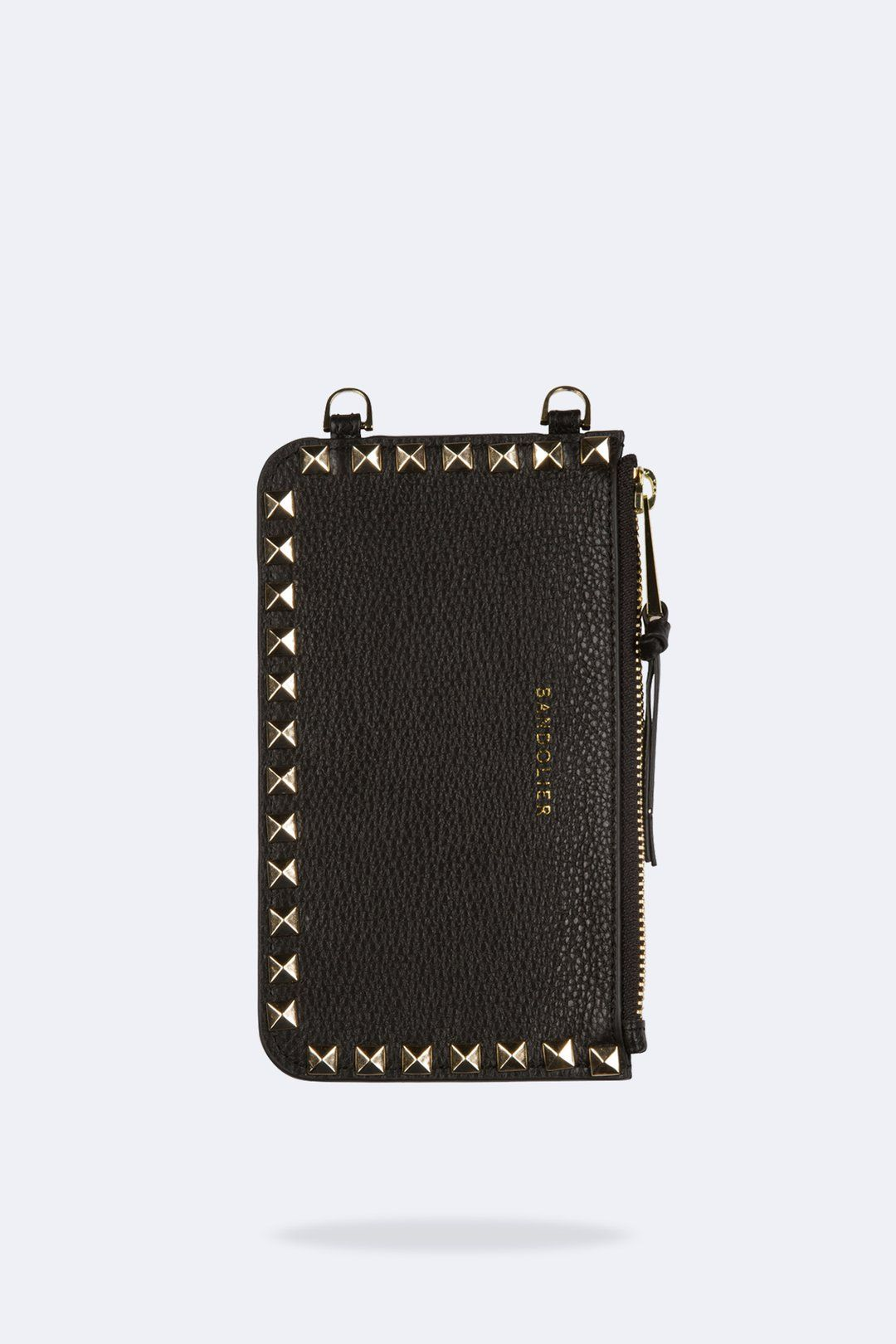 af3f35fb5ece Pebble Leather Pyramid Stud Zip Pouch - Black/Gold Ring Designs, Coin Purse,