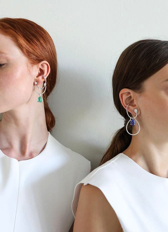 Khouri Has Some Radical Ideas About Jewelry - Two models wearing earrings by Ana Khouri at the desi