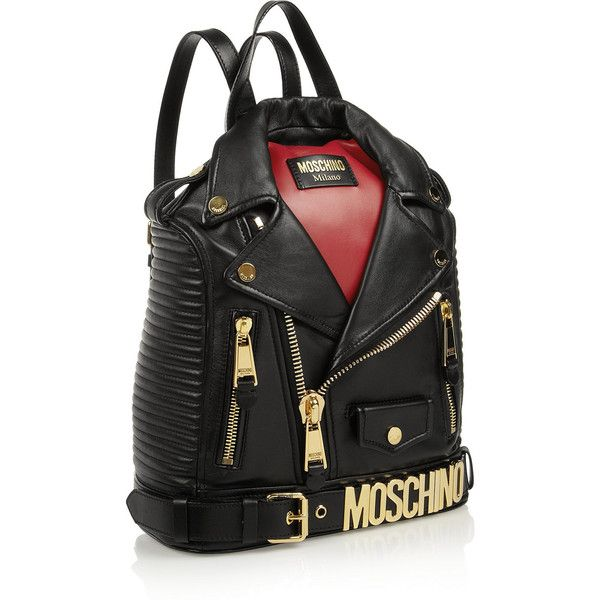Moschino Biker leather backpack (5.940 RON) ❤ liked on Polyvore featuring bags, backpacks, genuine leather backpack, zip bag, day pack backpack, moschino backpack and zip top bag