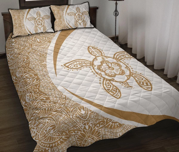 Hawaiian Polynesian Turtle Quilt Bed SetCircle Style Gold