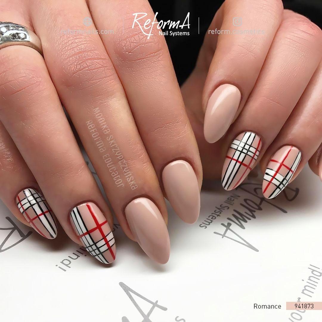 Beautiful Burberry Nails By Reforma Educator Reforma Monika Skrzypczynska Gel Polish Romance Burberry Nails Plaid Nails Cute Nails