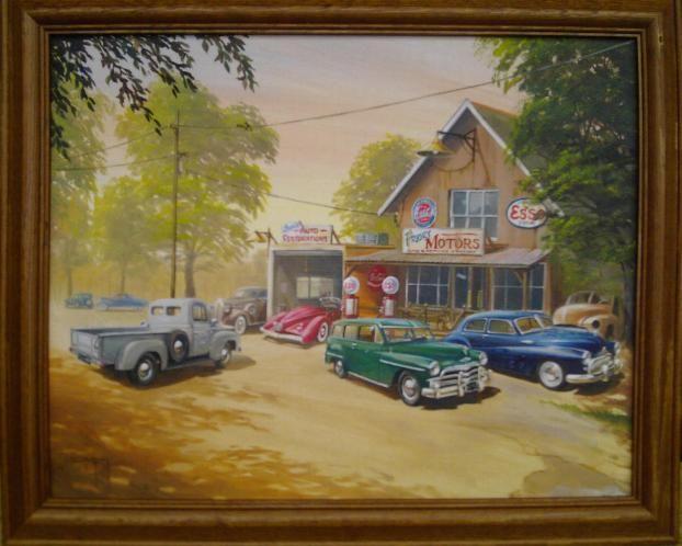 Oil Painting Car And Garage Ian Guy Motoring Artist Oil