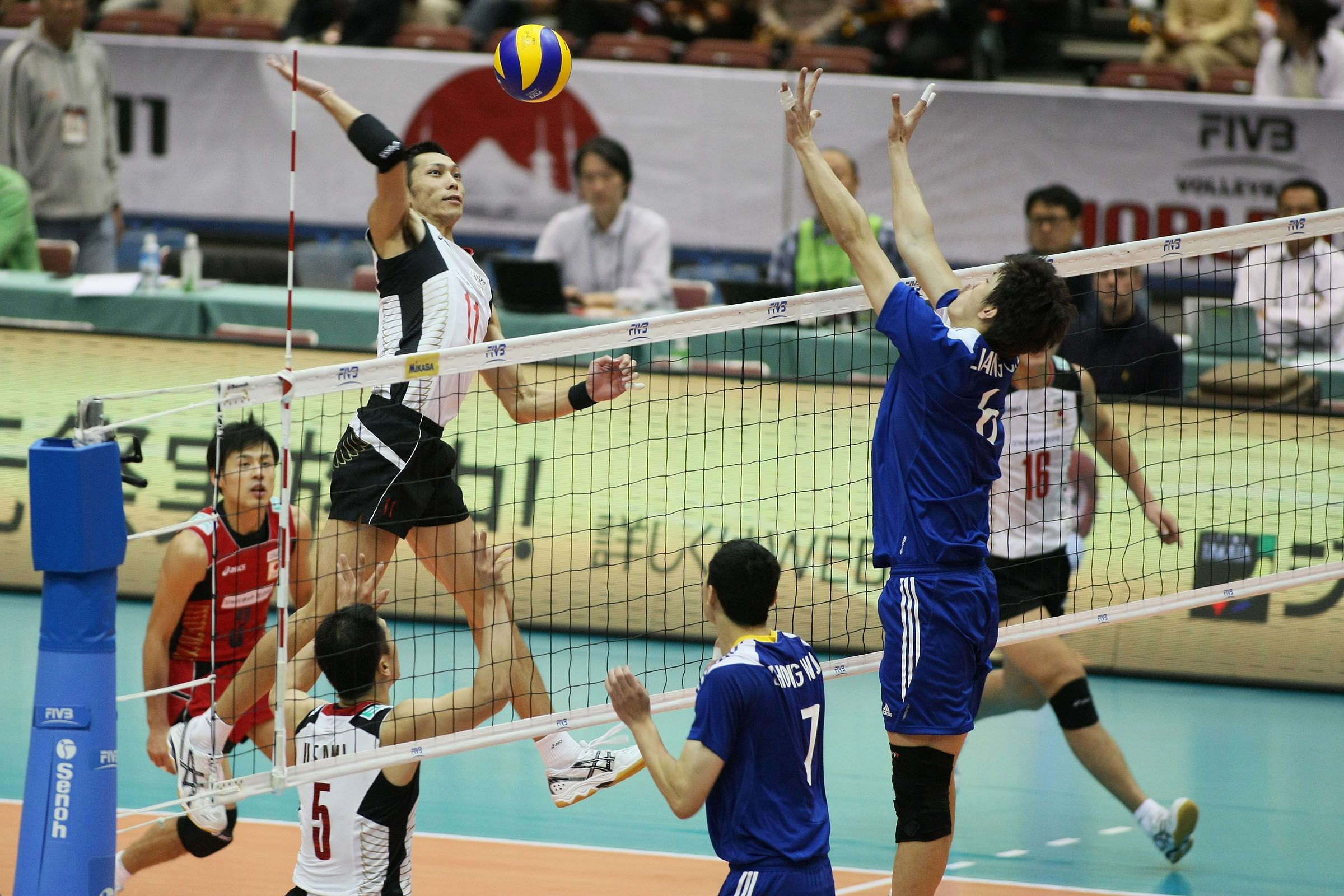 Yoshihiko Matsumoto Attacks For The Home Team Of Japan Home Team Japan Teams