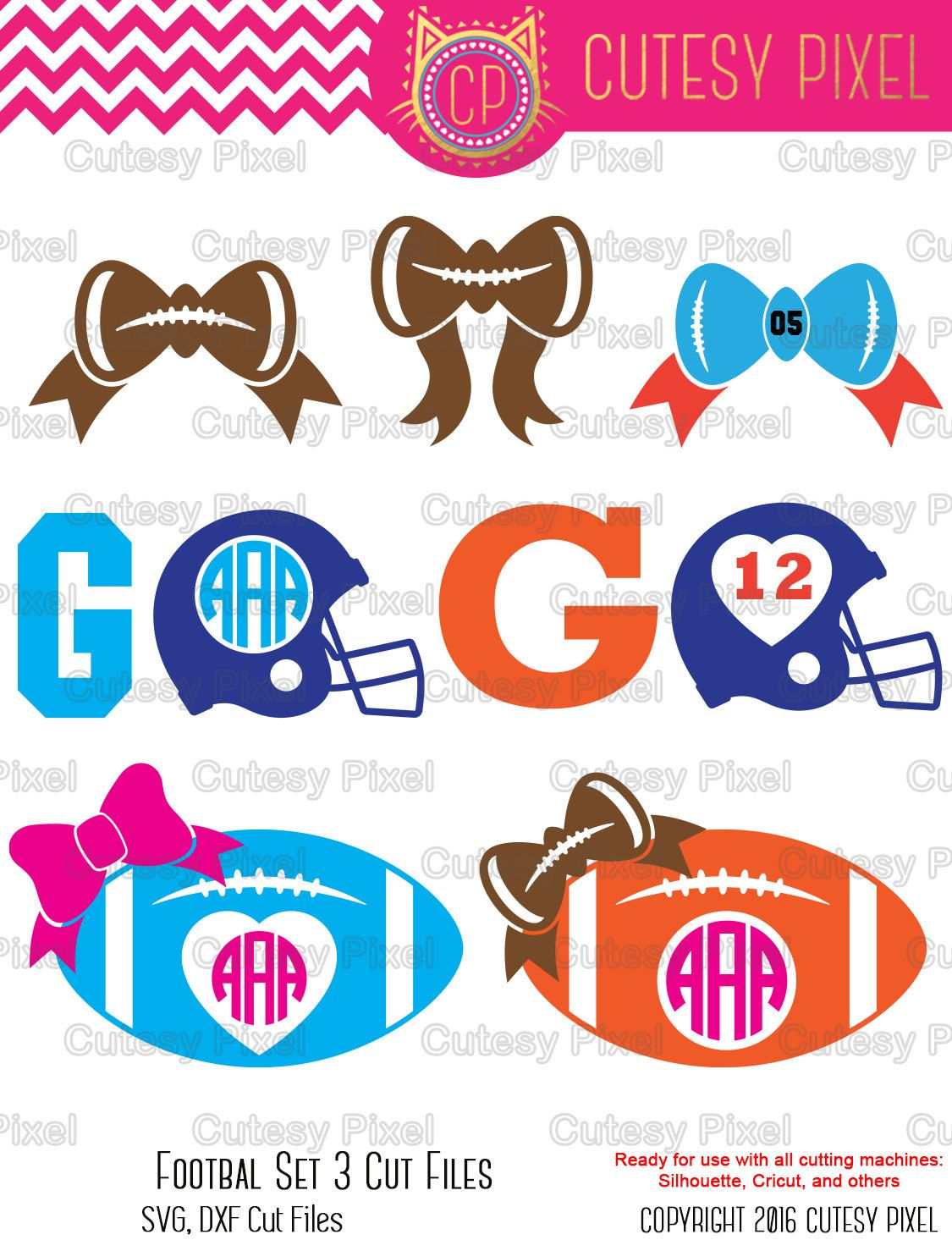 football monogram bows frames svg svg cutting file football helmet svg sports svg dxf cricut design space silhouette studio