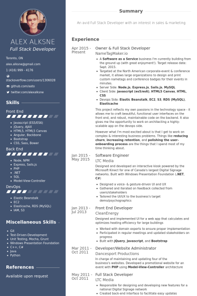 Web Developer Resume Sample Owner & Full Stack Developer Resume Example  Resume  Pinterest