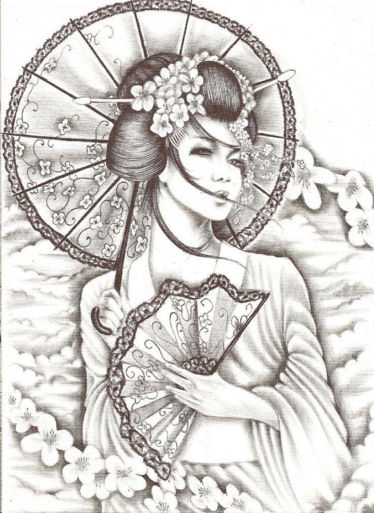 Pin de Fabrizio en Disegni | Pinterest | Geishas, Colorear y Mandalas
