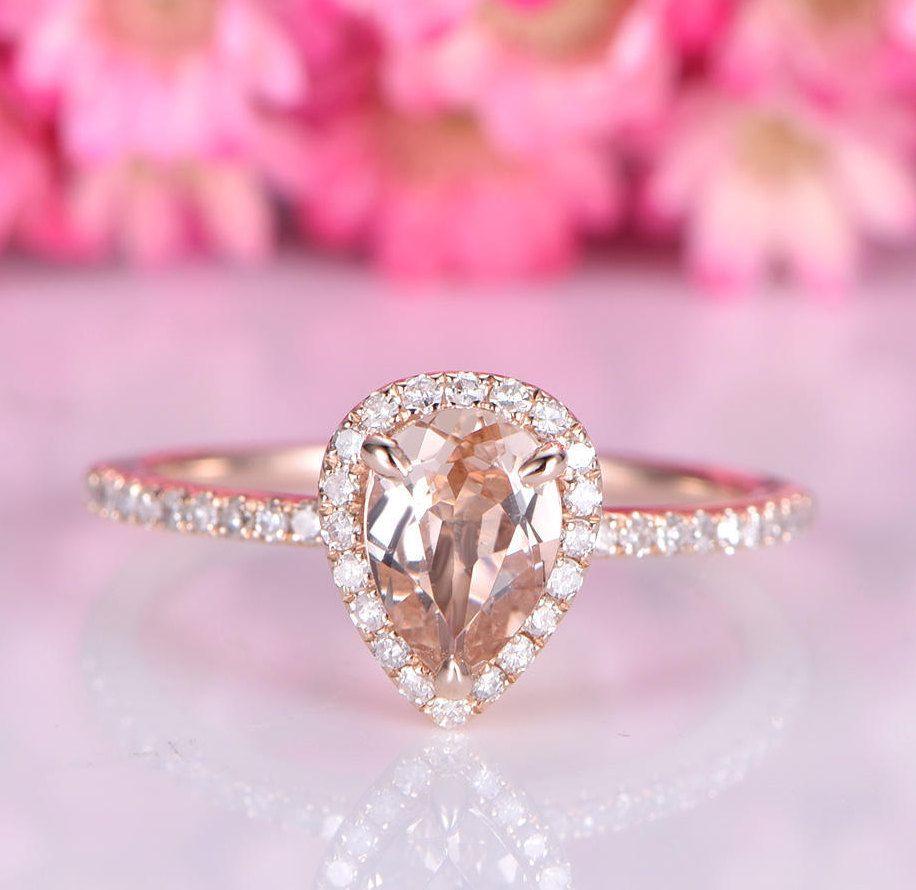 Morganite engagement ring 5x7 pearl cut morganite ring diamond ...