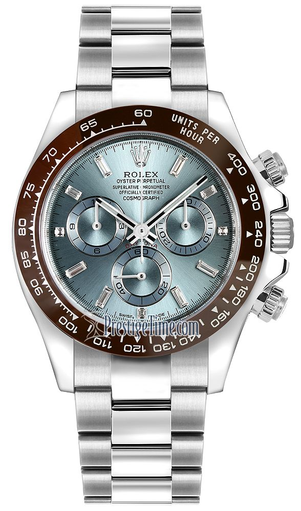 453bf93a4ef5d Rolex Cosmograph Daytona Platinum 116506LN Ice Blue Baguette Index ...