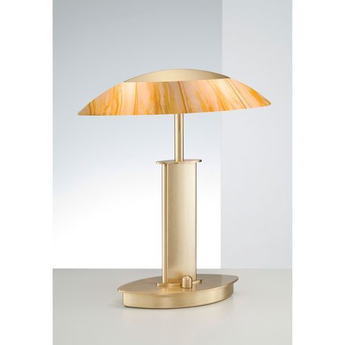 Brushed Brass Two-Light Table Lamp with Topaz Glass