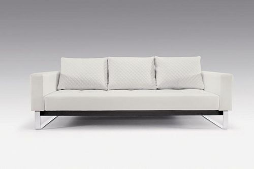 Sectional Sofas Cassius Q Deluxe Sofa Bed Full Size White Leather Textile by Innovation Innovation