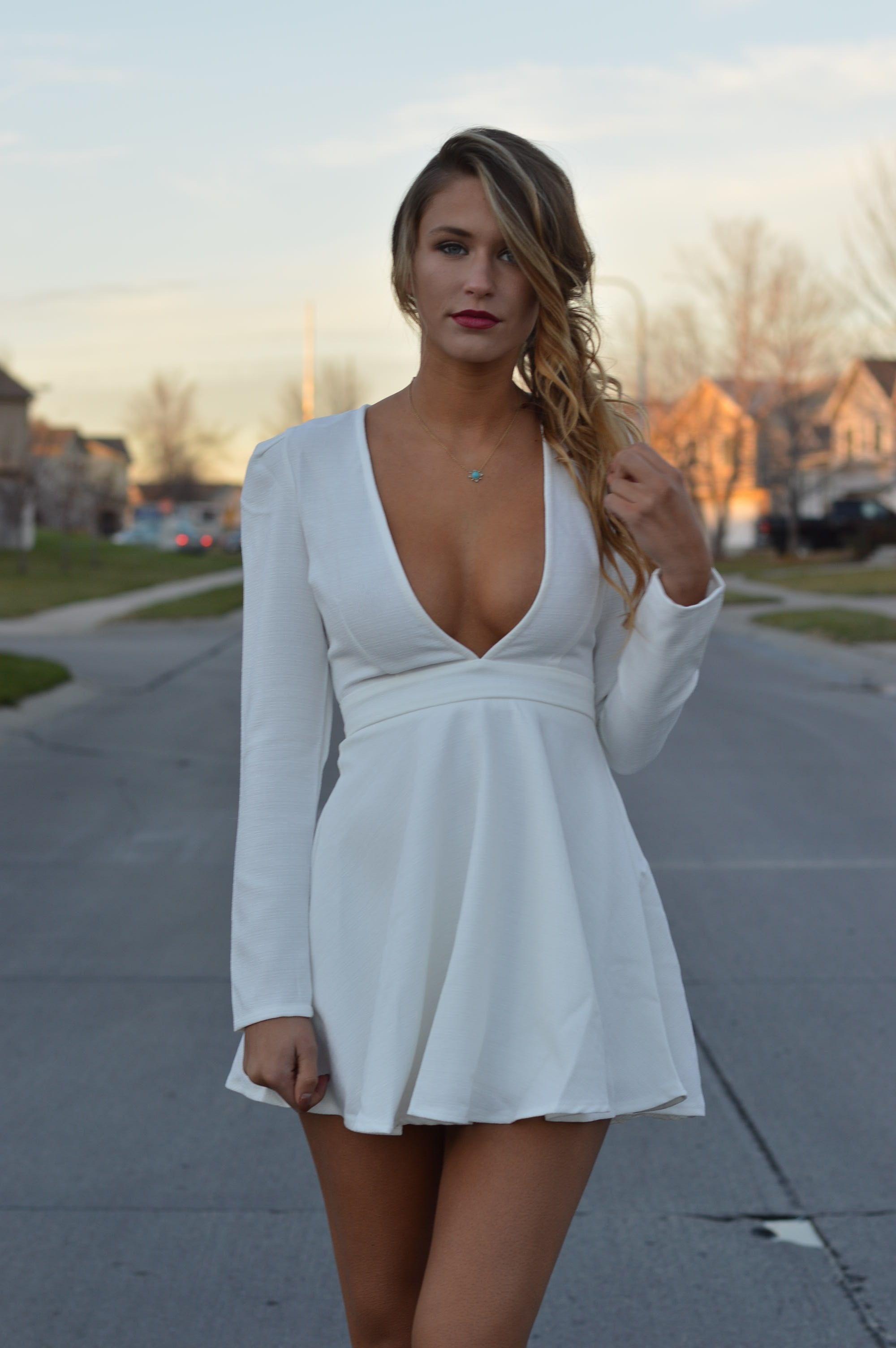 Long low cut white dress