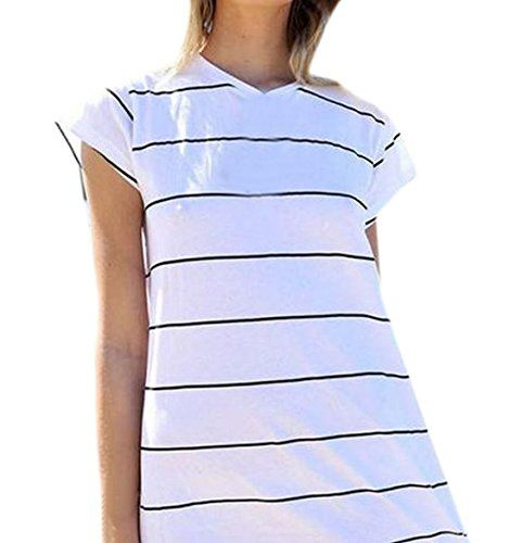 Goocyber Women Stripe Comfy Short Sleeve T Shirt Tunic Pullover - http://bigboutique.tk/product/goocyber-women-stripe-comfy-short-sleeve-t-shirt-tunic-pullover/
