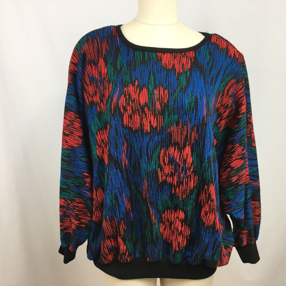 32bc00301 Top Notch Women s Sweater Knit Top Vintage 80s Size 2X Multi-Color Flowers  USA  TopNotch  KnitTop
