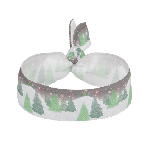 #zazzle #christmas Green christmas trees on a red sky with white snowy hill.