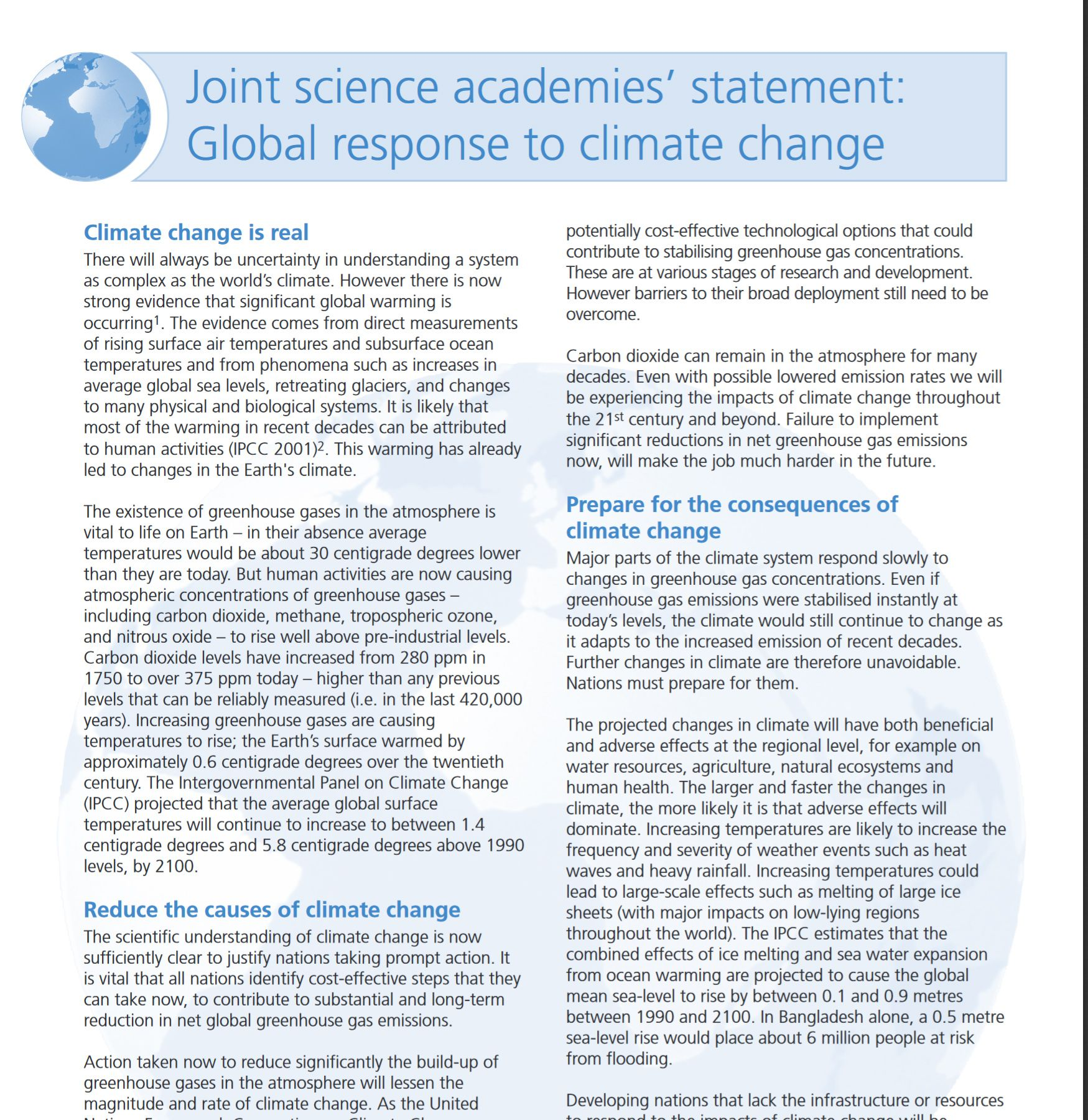 Joint Science Academies Statement Global Response To Climate Change Climate Change Global Warming Greenhouse Gases