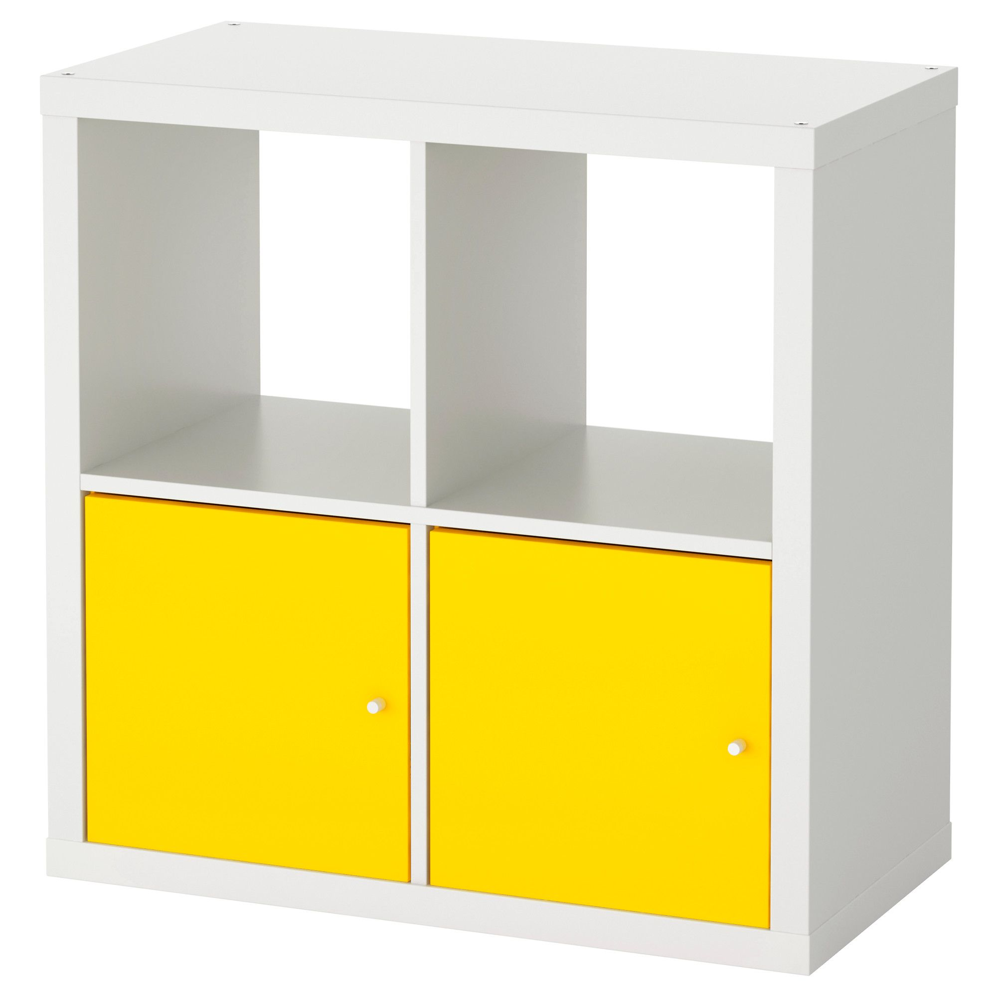 KALLAX Shelf unit with doors white yellow