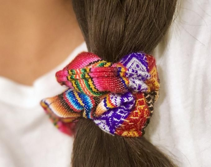 Rainbow Pom Pom Hair Scrunchie #hairscrunchie
