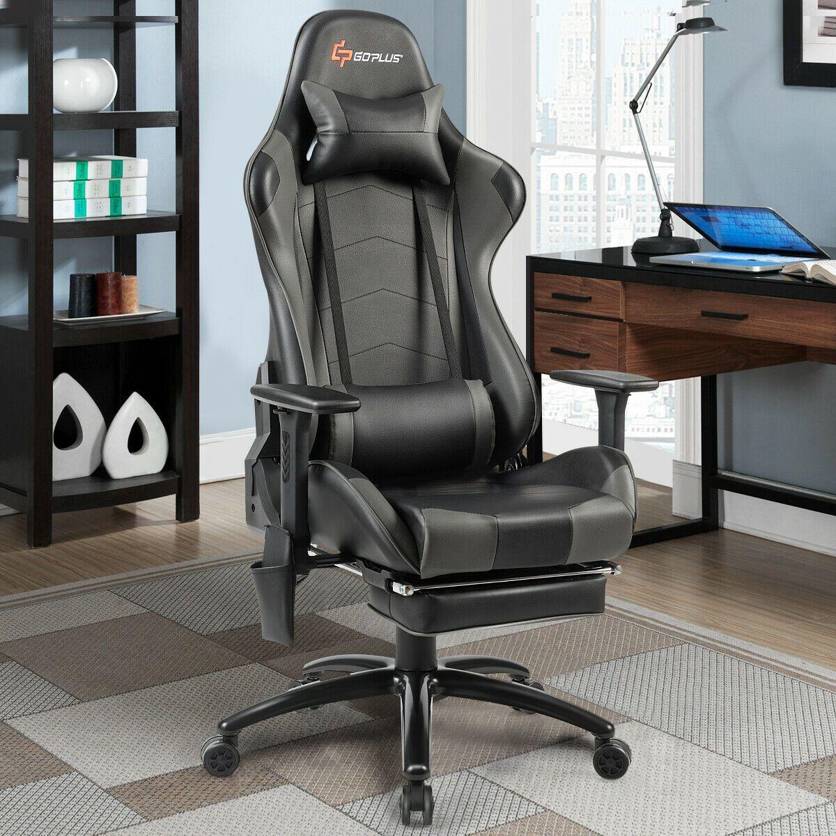 Ergonomic high back pu leather massage gaming chairgray