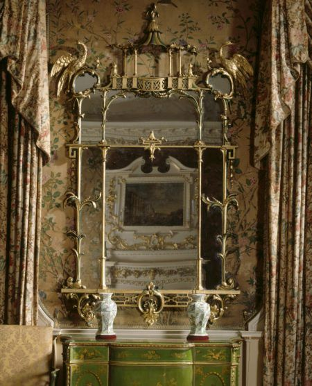 -Pier glass made by Thomas Chippendale early 1700's in the State Bedroom at Nostell Priory, West Yorkshire.