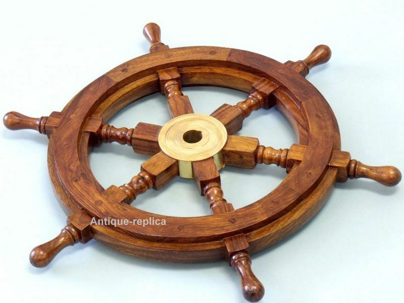 Nautical Wooden Ship Steering Wheel Pirate Decor Wooden Brass Fishing Wall Boat