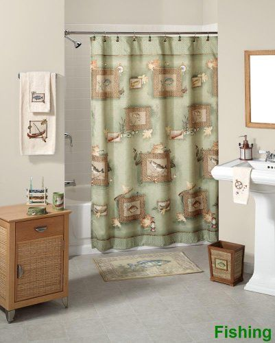 Fishing Shower Curtain And Accessories