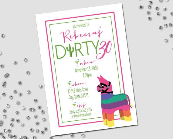 Dirty Thirty Birthday Party Invitation Dirty 30 Fiesta Birthday