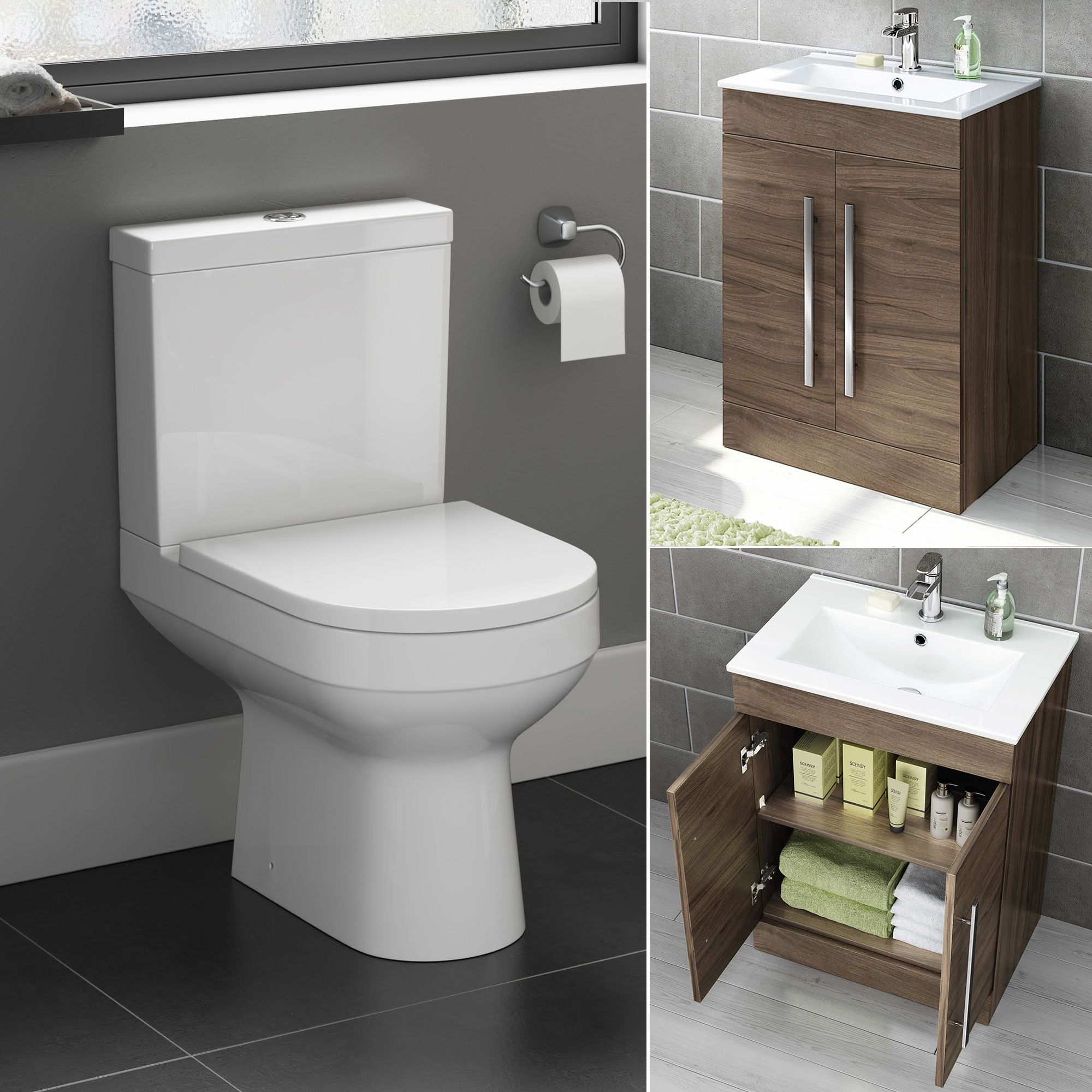 Close Coupled Toilet U0026 600mm Walnut Effect Basin Unit Set. ToiletsNext  DayBasinsAvonCabinets