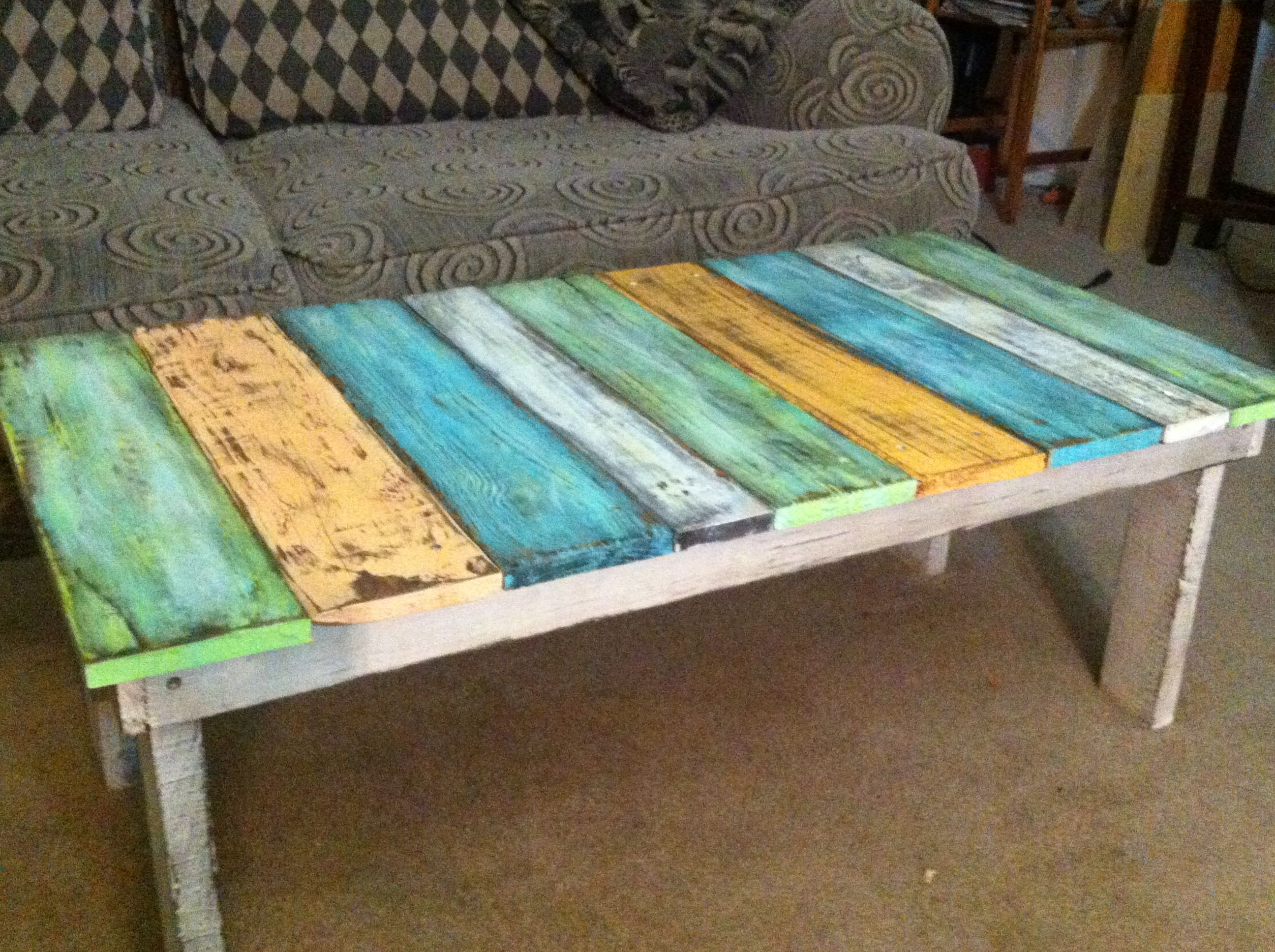 old fence boards made into a coffee table