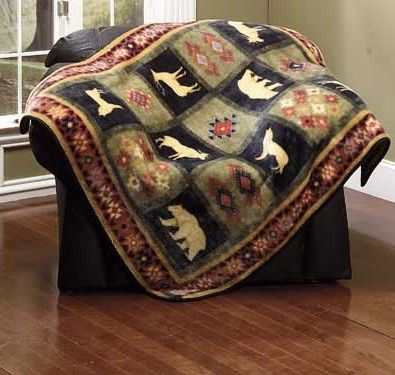 45 99 Dakota Wildlife Throw Blanket Or Rugs Featuring Our Favorite Moose Bears And Wolves In A Checker Board Rustic Throw Throw Blanket Plush Throw Blankets