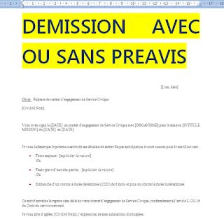 Lettre Demission Sans Preavis Word Doc Lettre De Demission Word Doc Modele De Lettre De Demission