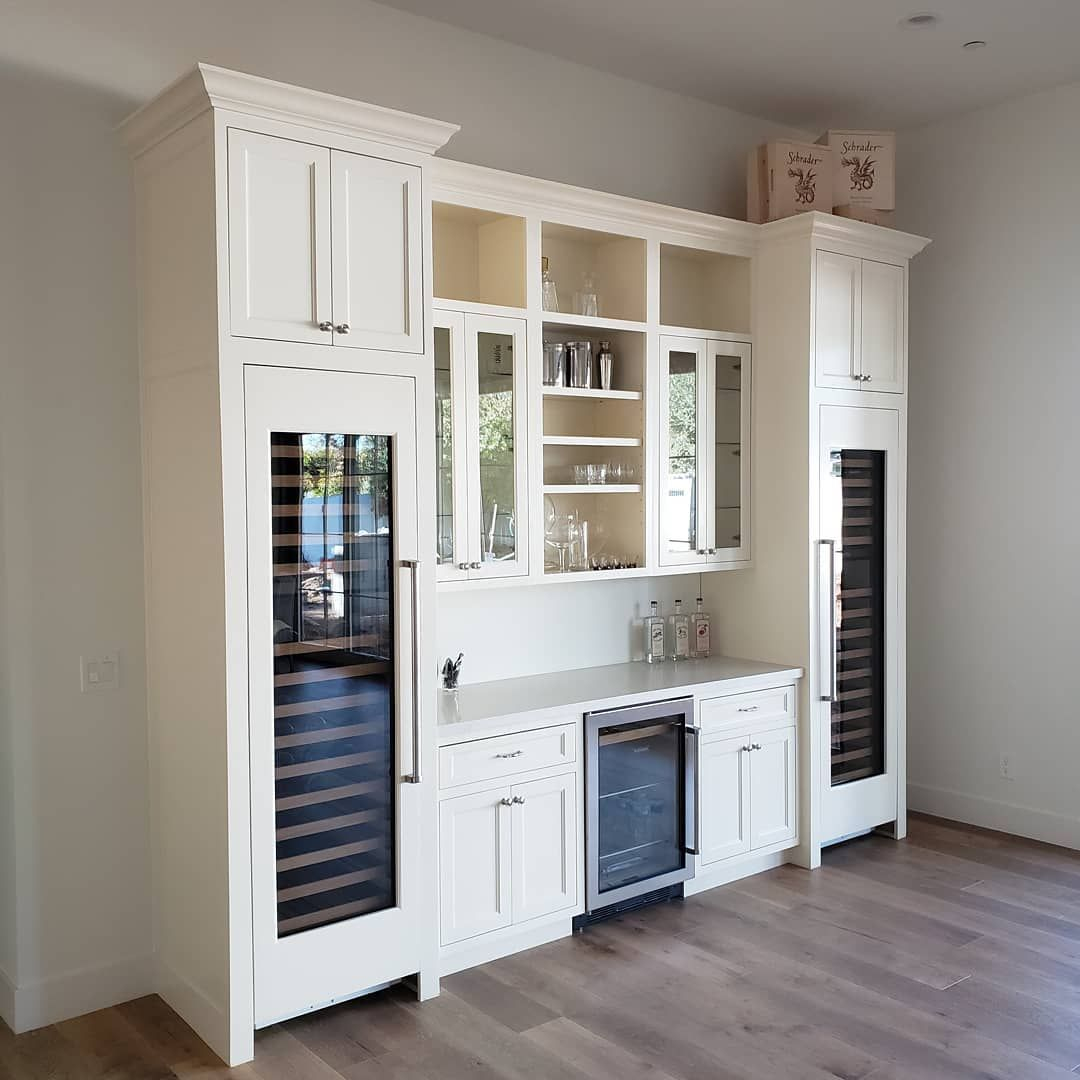New Age Cabinetry Coatings On Instagram Beautifully Designed To House Two Wine Coolers And An Under The Co Built In Wine Cooler Wine Fridge Bar Wine Cooler