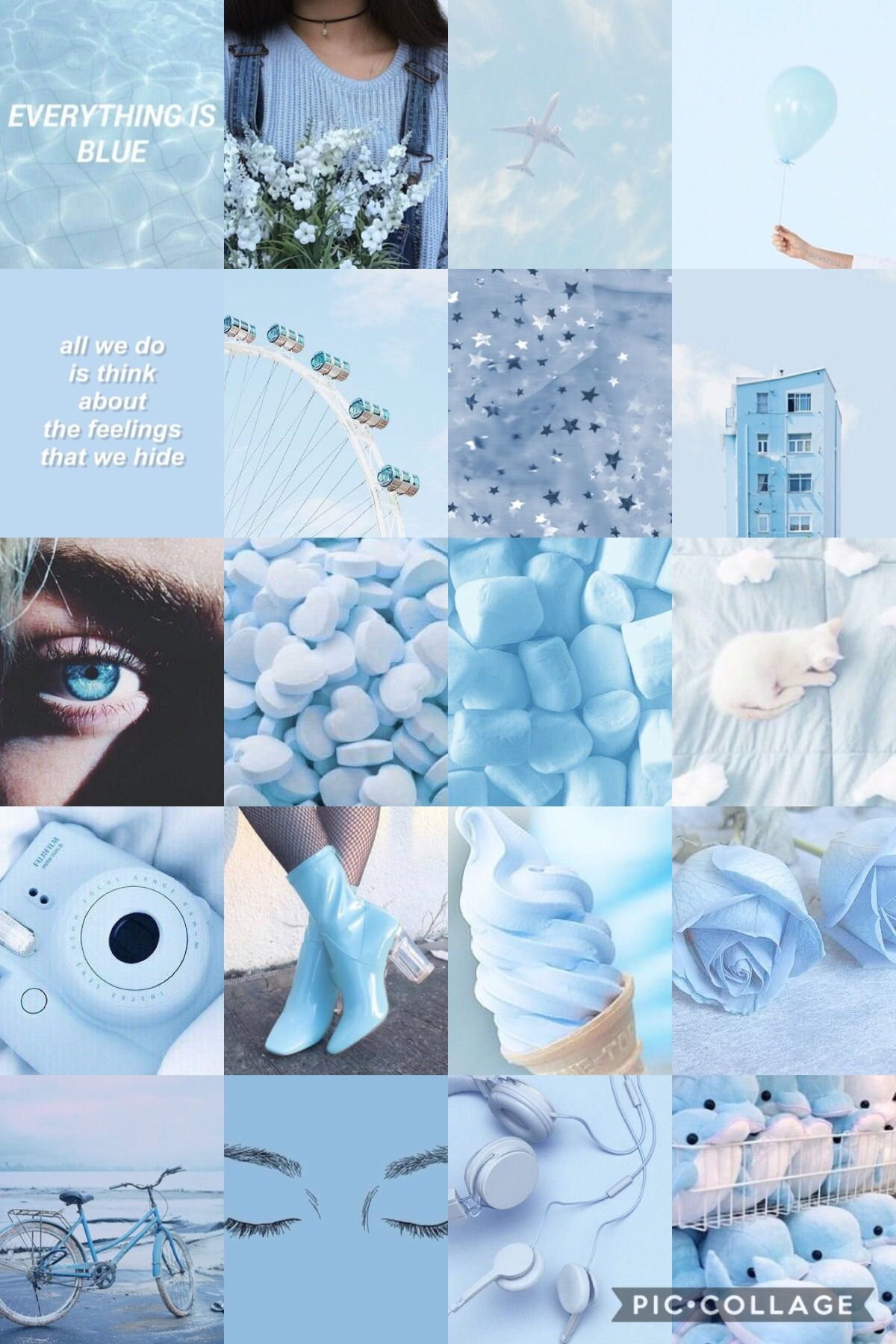 Blue Aesthetic Background Blue Collage Wallpaper Tell us the truth, can you spend even a day without looking at your phone? blue aesthetic background blue collage