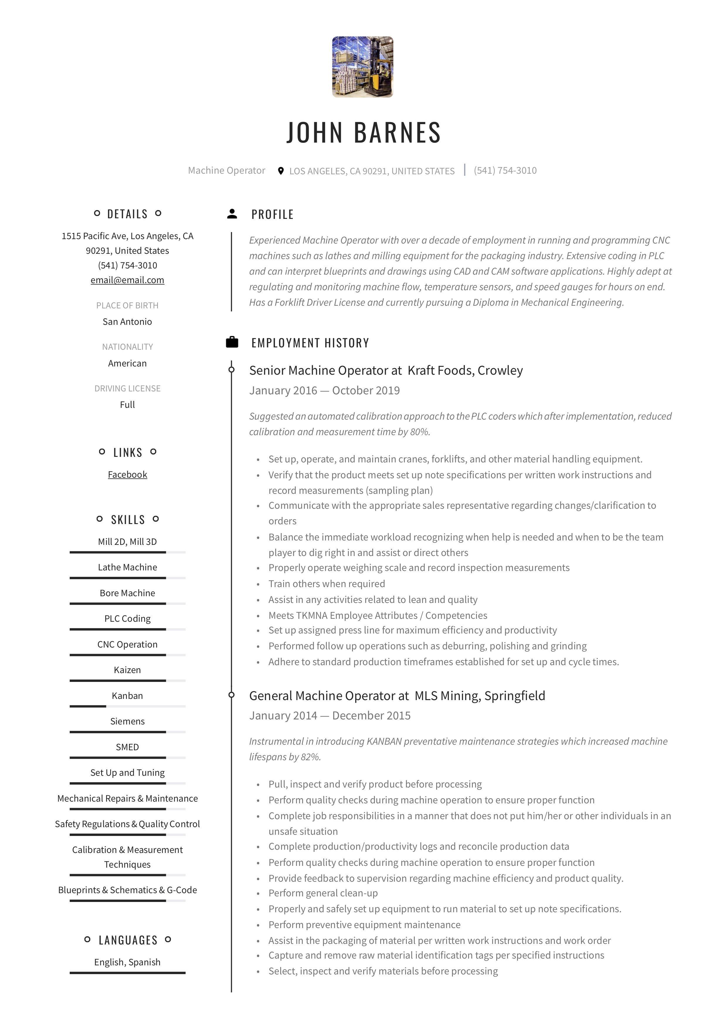 Machine operator resume writing guide in 2020 teacher