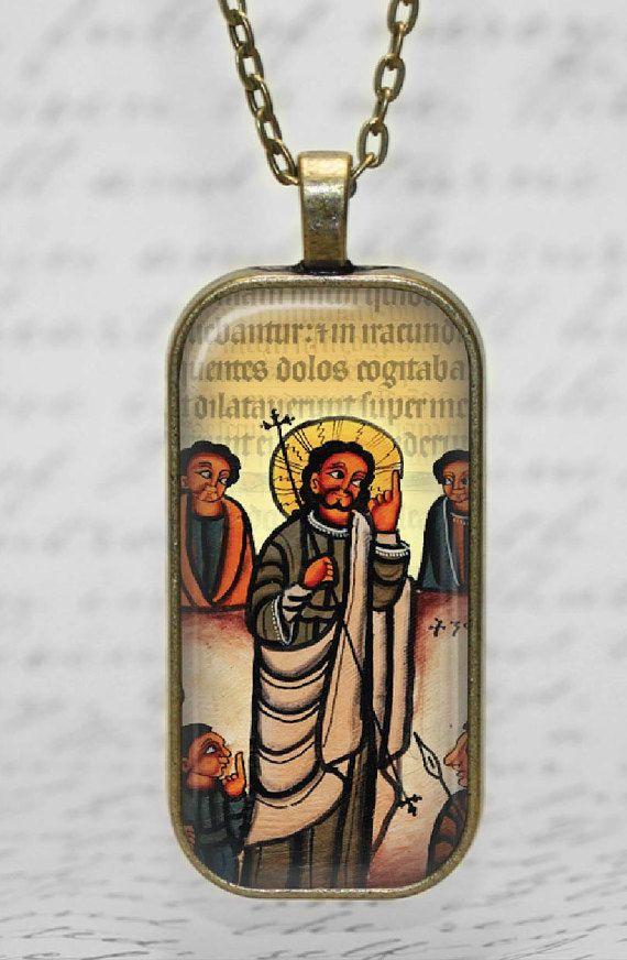 Ethiopian Coptic Necklace Coptic Jesus by DesignsofFaithandJoy