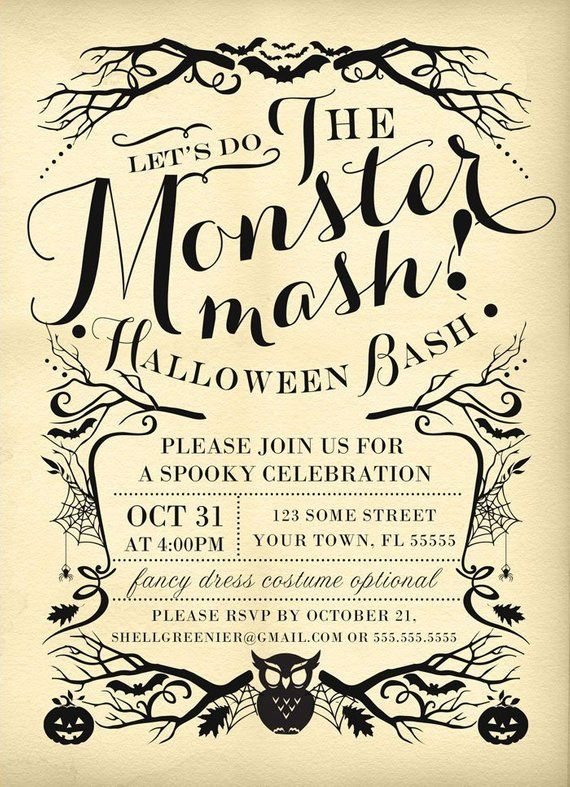 picture relating to Halloween Invitation Printable identify Halloween Invitation Template - Monster Mash Gown Celebration