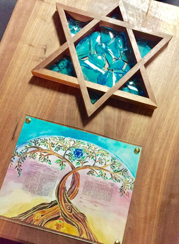 Jewish Keepsake Mazel Tov Unity Broken Glass With Framing To Add Wedding Contract