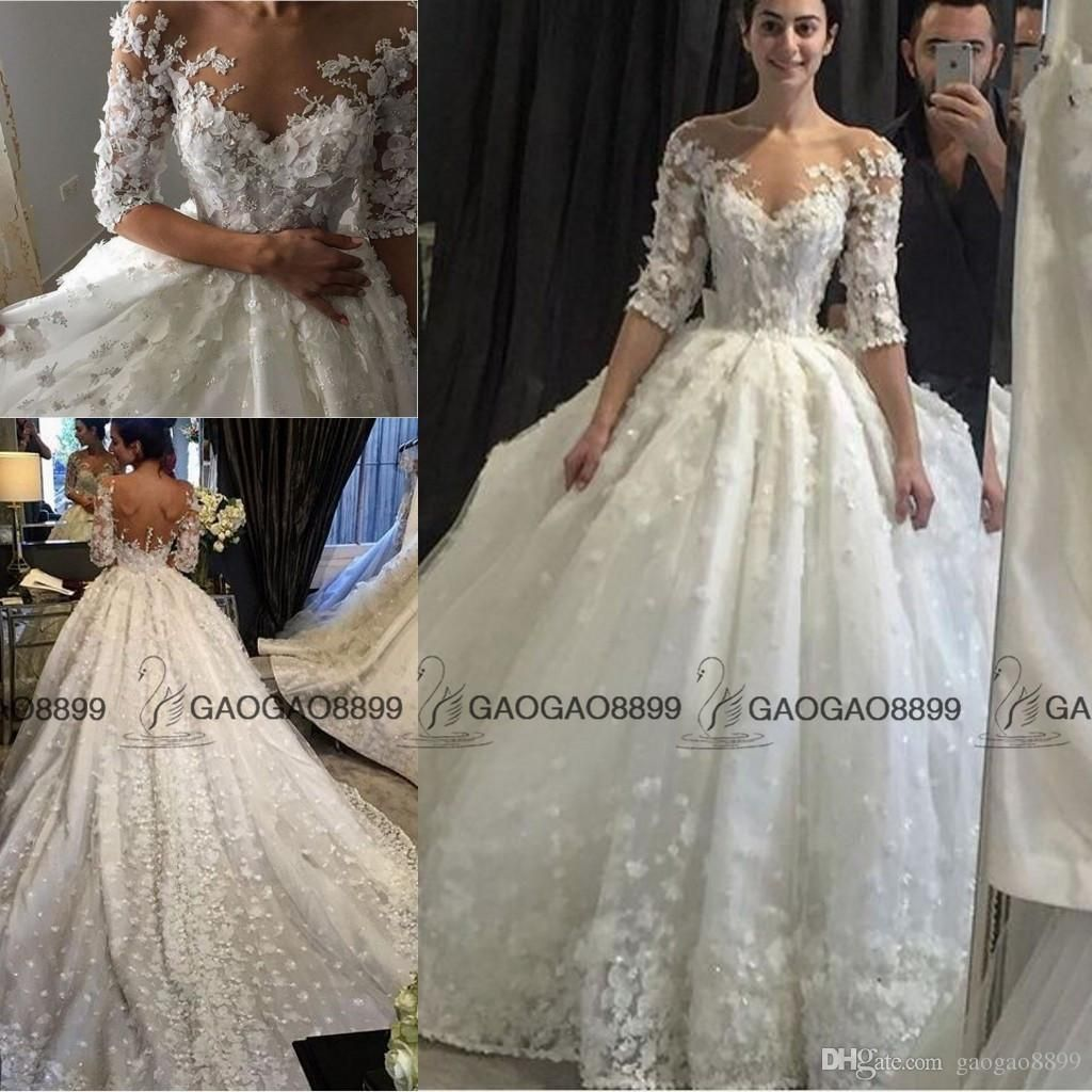 Luxury 3d Floral Church Train Royal Princess Wedding Dresses With ...