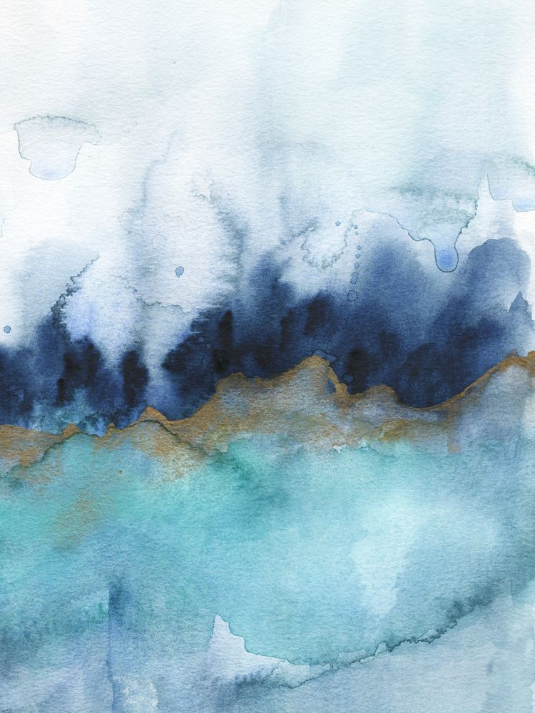 Mystic Abstract Watercolor Mini Art Print By Jen Merli Without