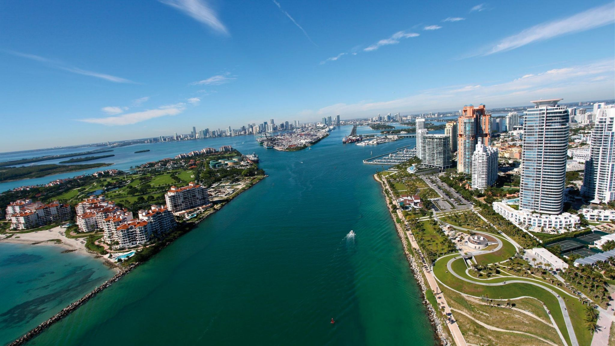 Amazing view of miami  from sky.