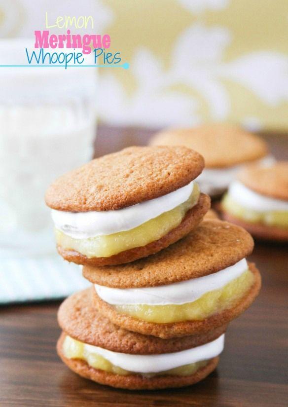 Lemon Meringue Whoopie Pies -- soft graham cookies, lemon pie filling, and marshmallow meringue.  I repeat -- marshmallow meringue.