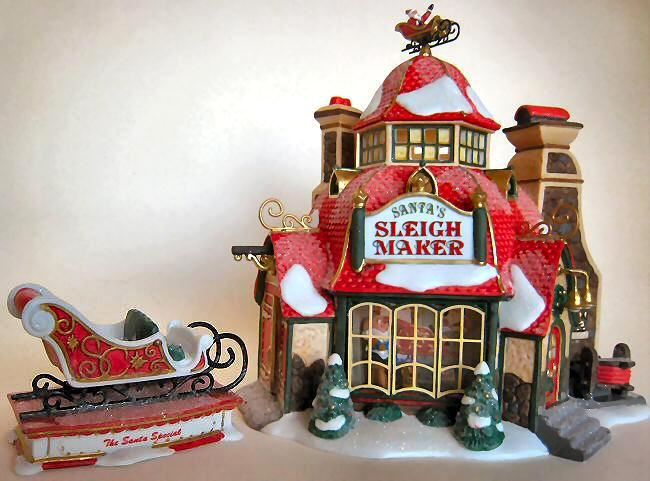 Beautiful Department Christmas Party Ideas Part - 14: Cartoon Santa House North Pole | Santau0027s Sleigh Maker New Department Dept  56 North Pole Village