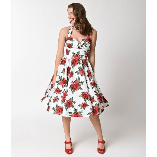 f85ed9886f91 Hell Bunny Retro White Rose Floral Halter Cannes Swing Dress ($78) ❤ liked  on Polyvore featuring dresses, halter dress, retro swing dress, ...
