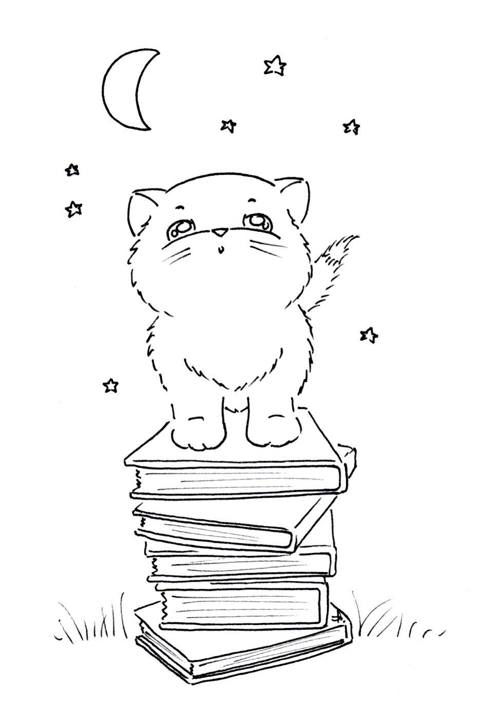 Gatito y libros | Dibujos para pintar | Pinterest | Gato, Libros y ...