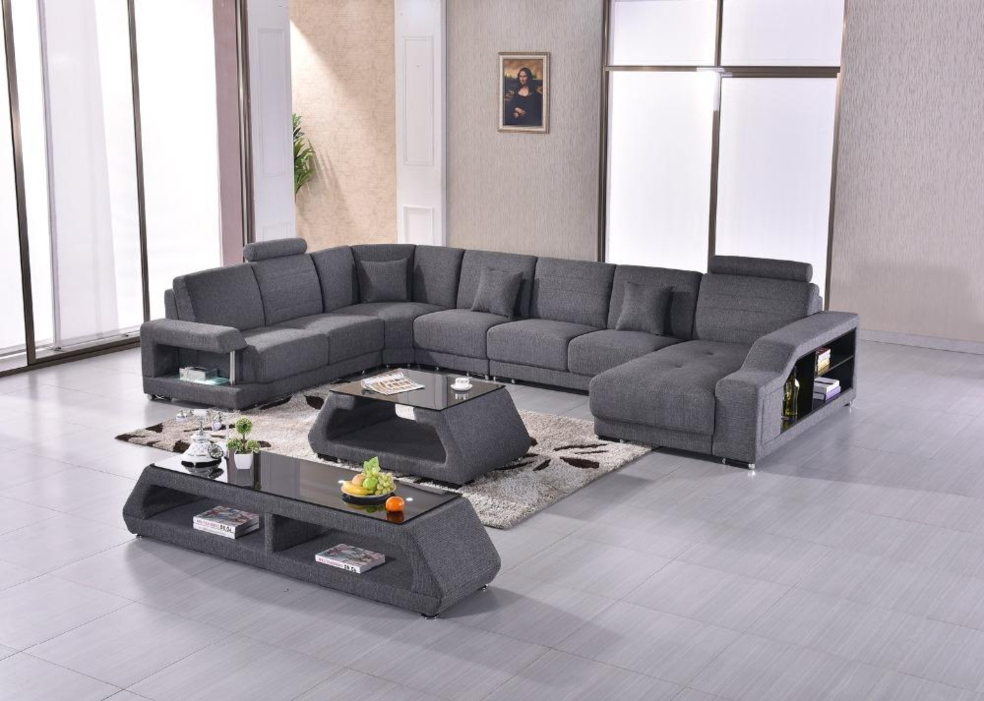 Fabric Modern Sofa Set Armchair Sectional Sofa U Shape ...