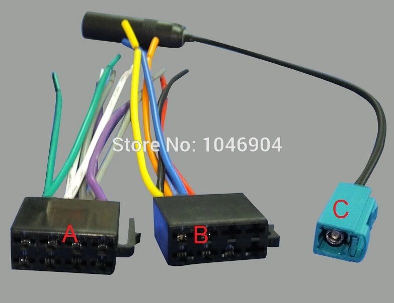 FREE SHIPPING ISO Cable Adapter Antenna Harness Cable Adapter For VW ...