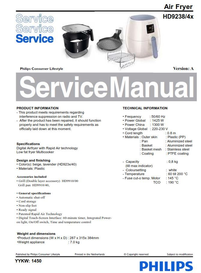 Philips Airfryer Hd9238  2x Series  Service Manual Service