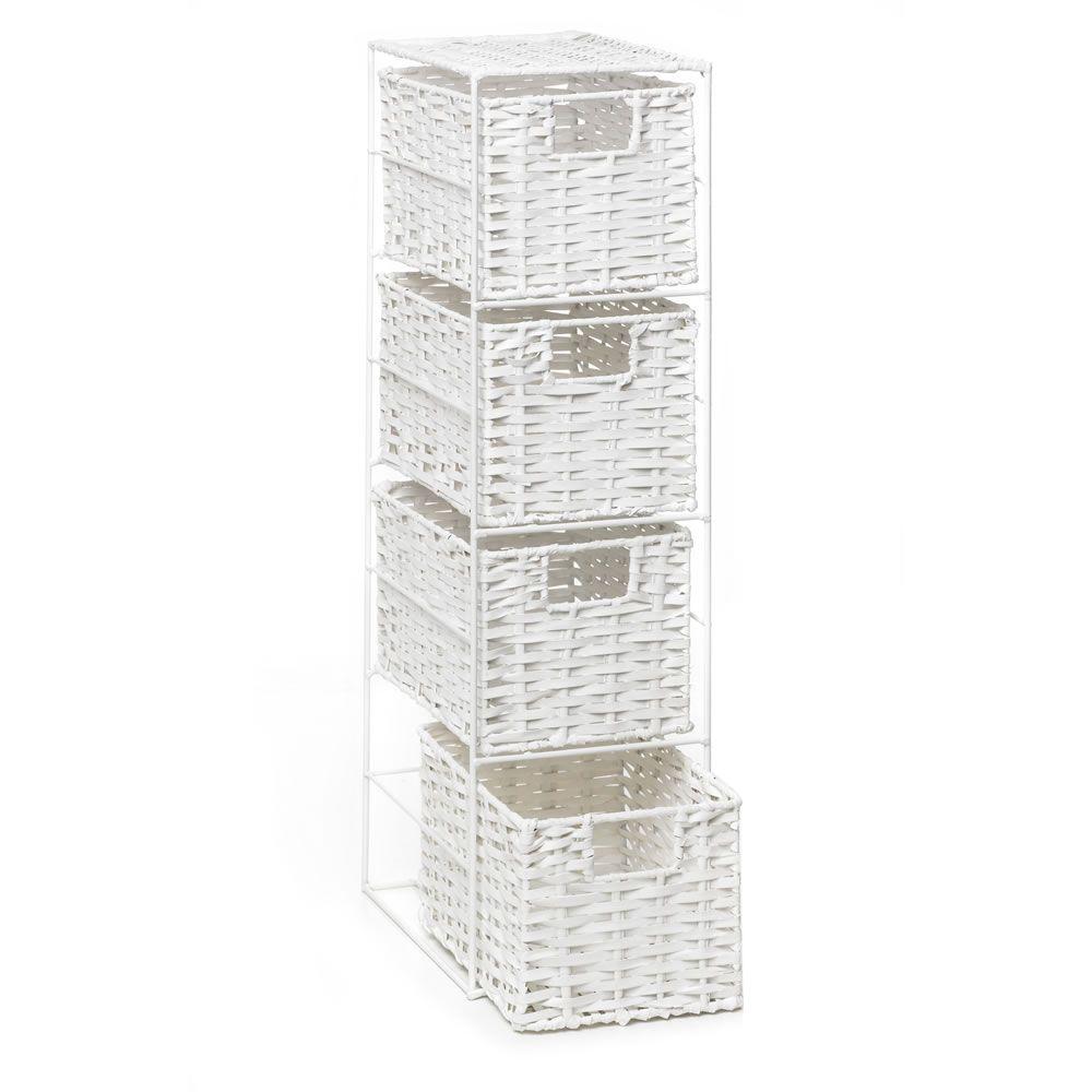Split Wood Storage Unit 4 Drawer White | Storage, Room accessories ...