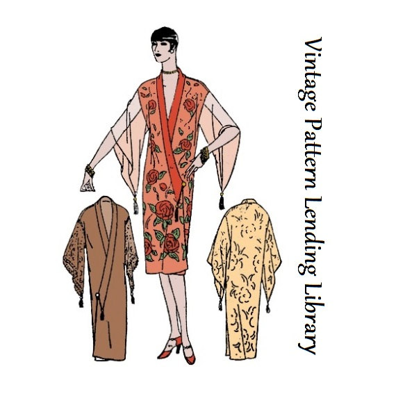 1927 Ladies Kimono Style Negligee - Reproduction Sewing Pattern ...